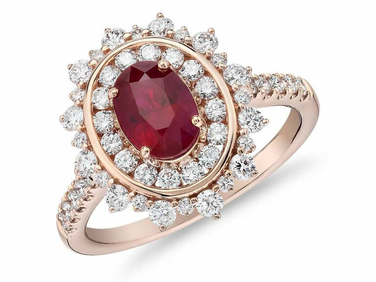 oval ruby ring with double diamond halo