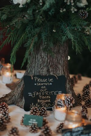 Rustic Chalkboard Signs at a Winter Wedding