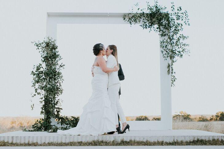Sleek Vine-Covered Metal Wedding Arch