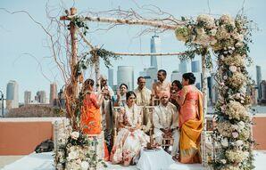 Elegant Hindu Ceremony Beneath Birch Mandap Covered with Romantic Flowers