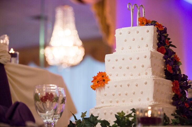 White Swiss-Dot Wedding Cake