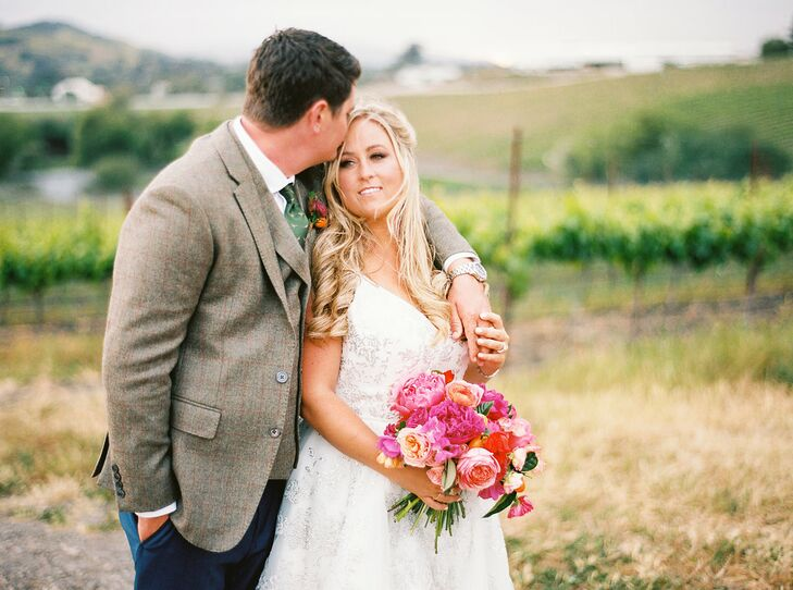 Bride with Down Hairstyle and Groom with Tweed Jacket at Vineyard