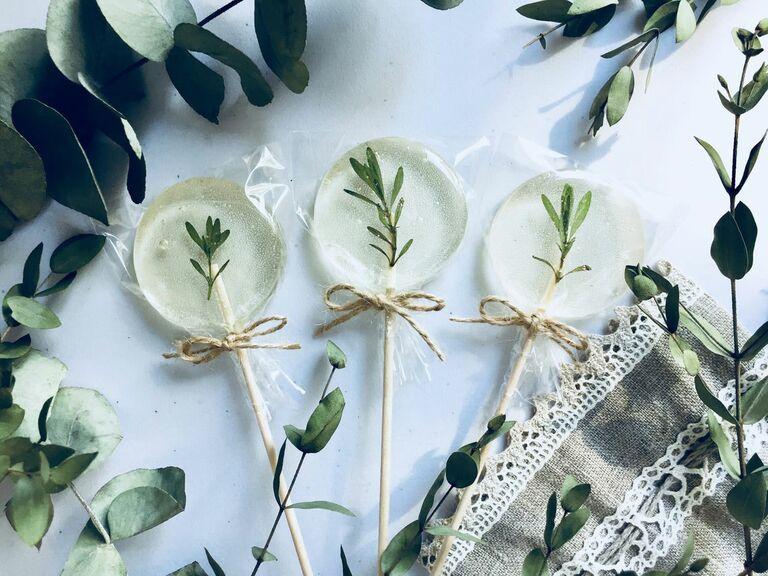 bohemian lollipop rustic wedding favor