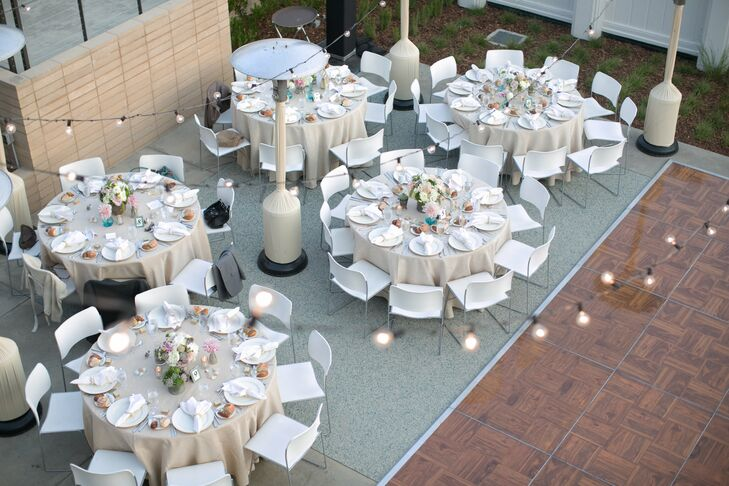 Sand colored linens added a subtle beachy feel to the nearly all-white decor.