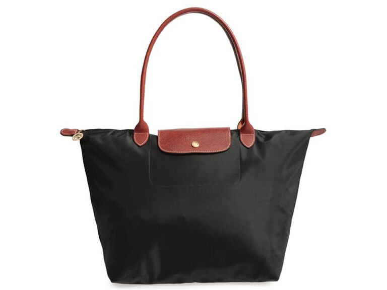 Large black nylon Longchamp tote with leather straps