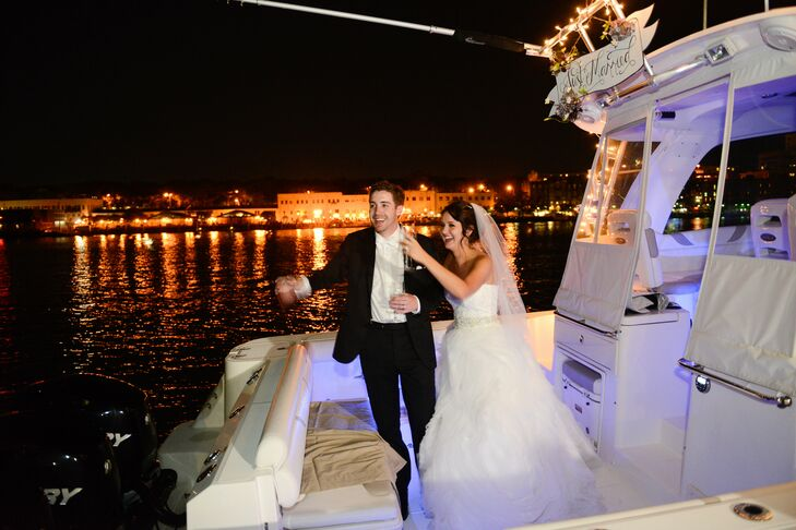 """At the end of the night, Amanda and Chris had one final surprise: Their grand exit on a boat. """"It was a nice touch, since we both grew up on the coast,"""" Amanda says."""
