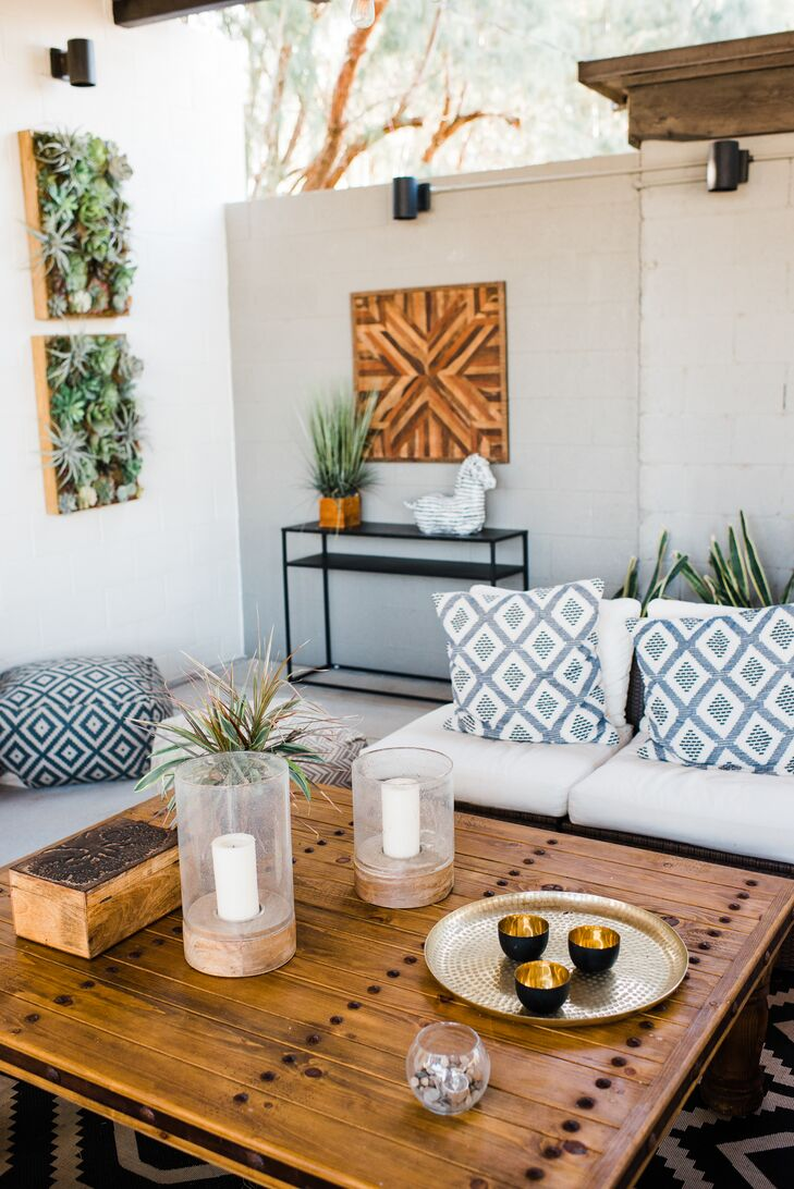 Bohemian Wood Lounge Table and Printed Pillows