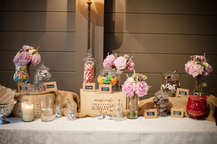 A candy buffet table was available to guests to indulge in a variety of sweet treats.