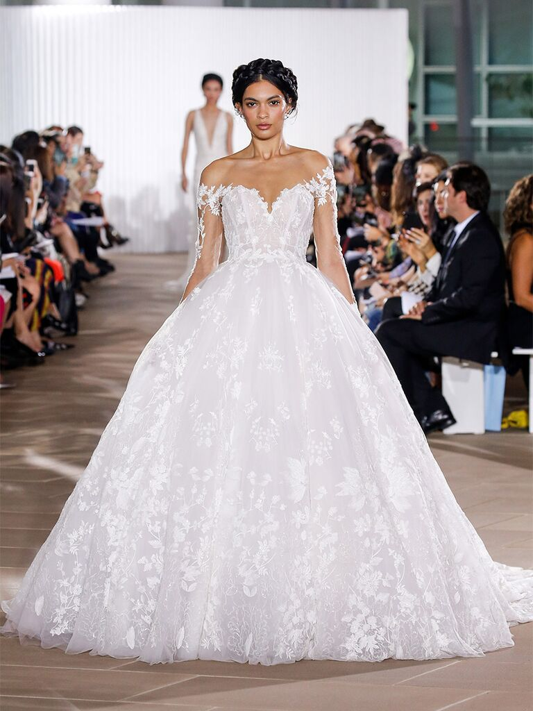 Ines Di Santo wedding dress ball gown with sheer long sleeves