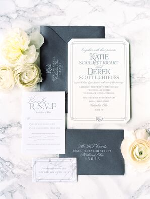 Charcoal and White Custom Wedding Invitations