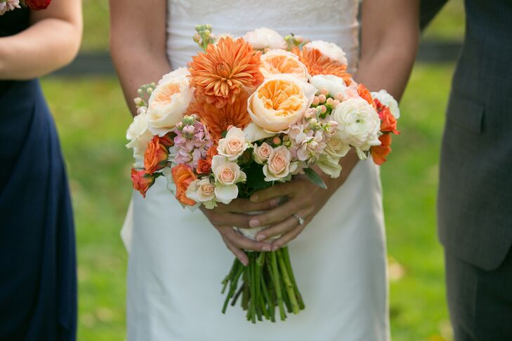 Orange Dahlia and Ivory Garden Rose Bouquet