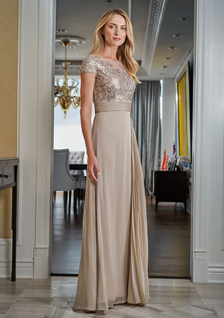 mother of the bride Jade dress with sleeves and slit