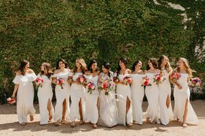 Bride with Wedding Party Dressed in Long White Gowns