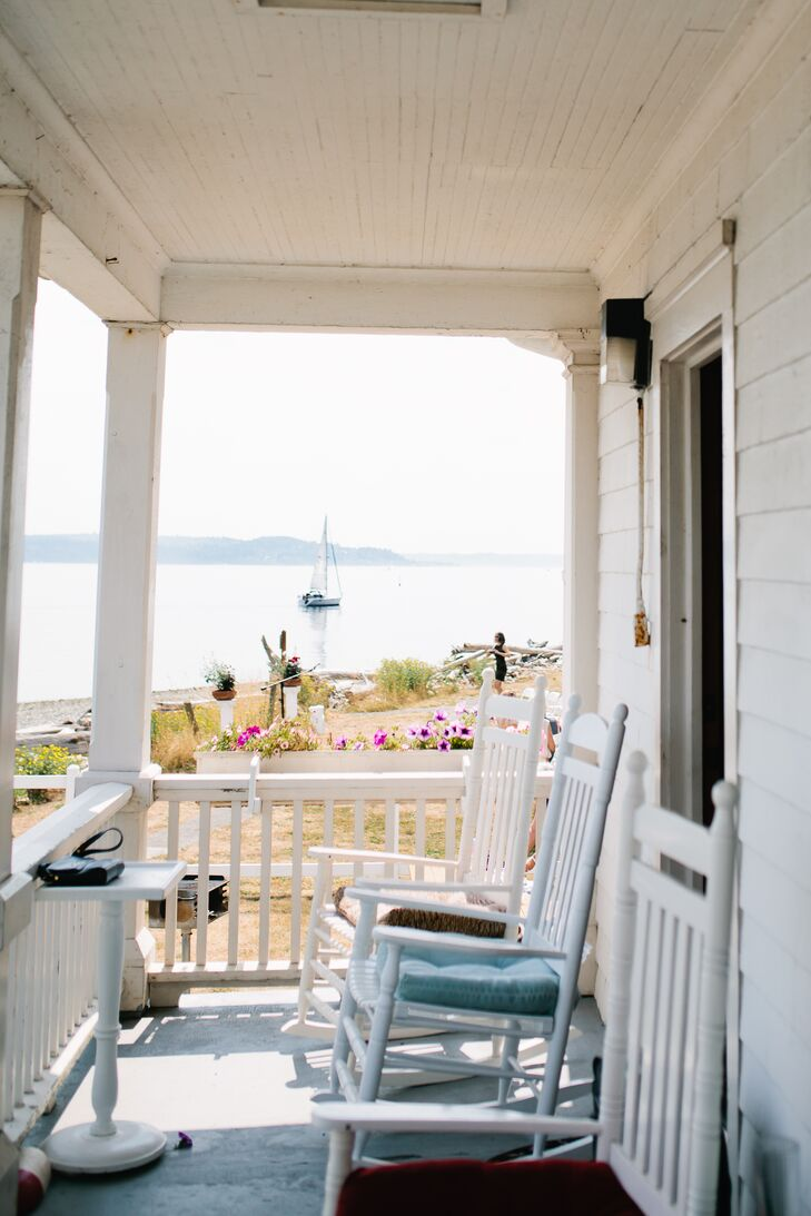 """""""Vashon Island is a serene island in Puget Sound; it is a quick ferry ride from West Seattle,"""" says the couple. """"Kevan's parents built a house on the island over twenty years ago, serving as a weekend getaway ever since."""""""