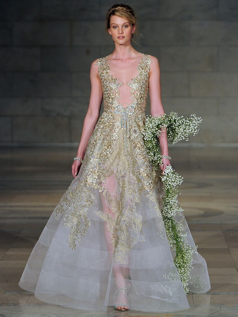 Reem Acra Fall 2018 gold and silver metallic embroidered wedding dress