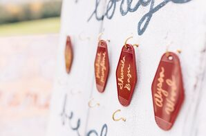 Personalized Key Chain Escort Cards on Gold Hooks