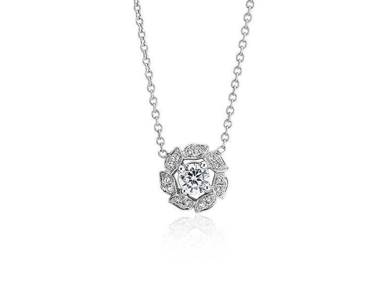 Floral diamond wedding necklace