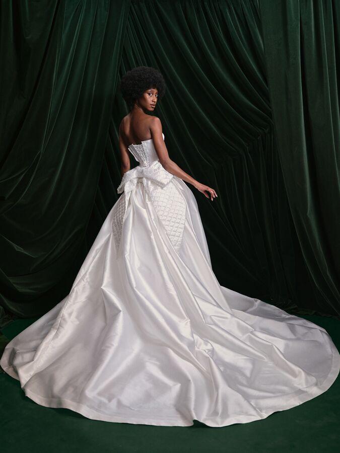 Wiederhoeft corseted white mikado ball gown