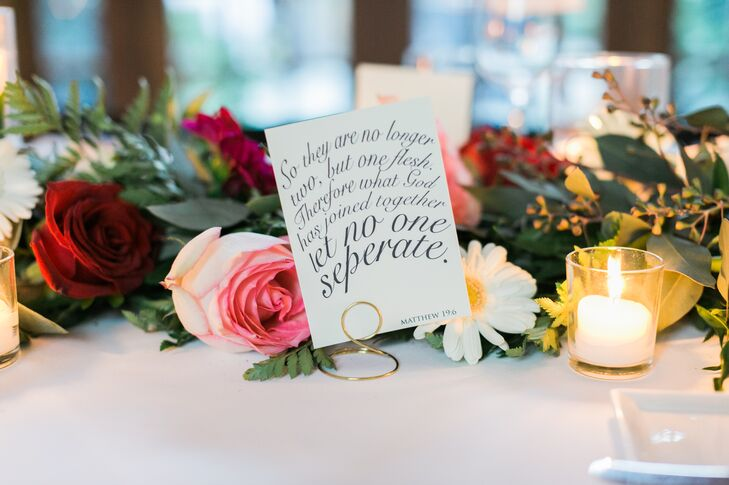 Typographic Bible Quote Table Signs