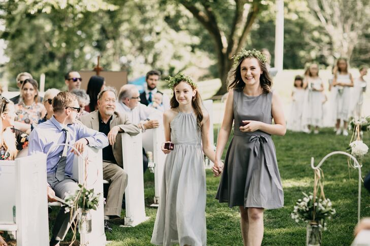 Wedding Attendants in Grey Dresses and Flower Crowns