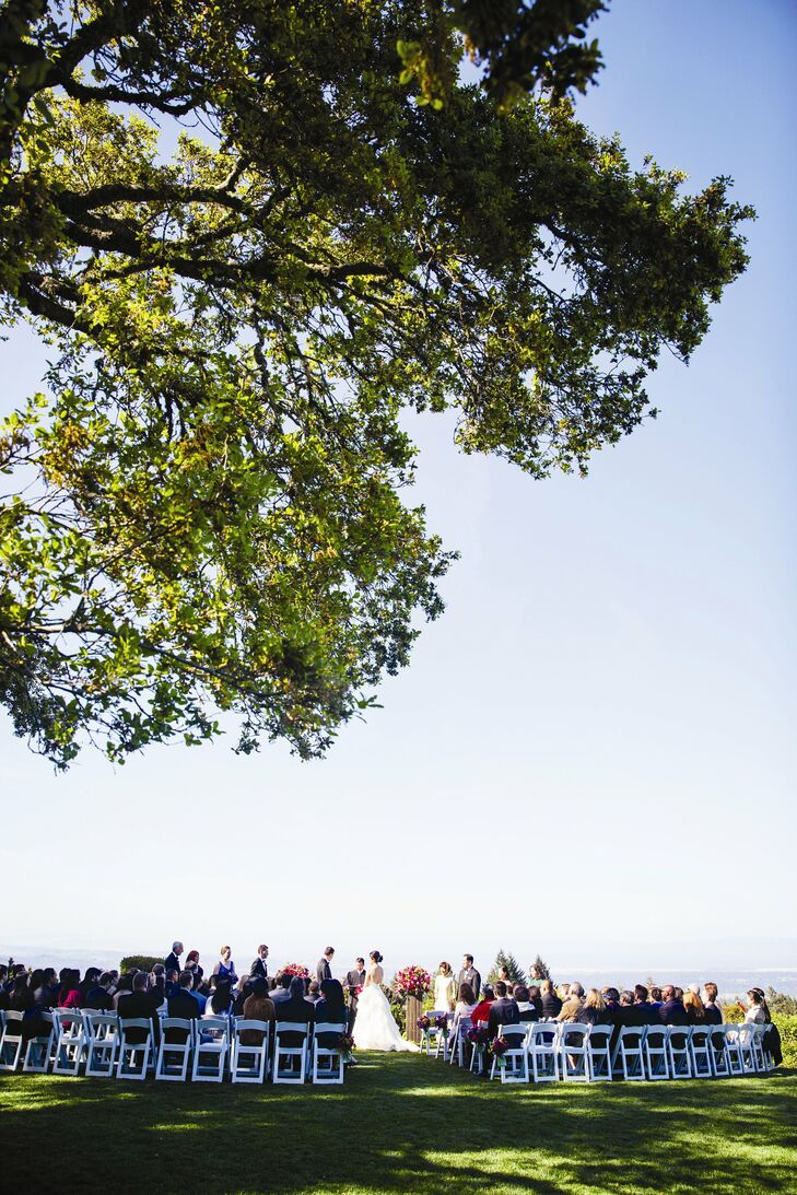 The ceremony was held in the late afternoon on the lawn at Thomas Fogarty Winery.