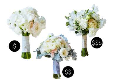 Low-, mid- and high-cost ranunculus bouquets