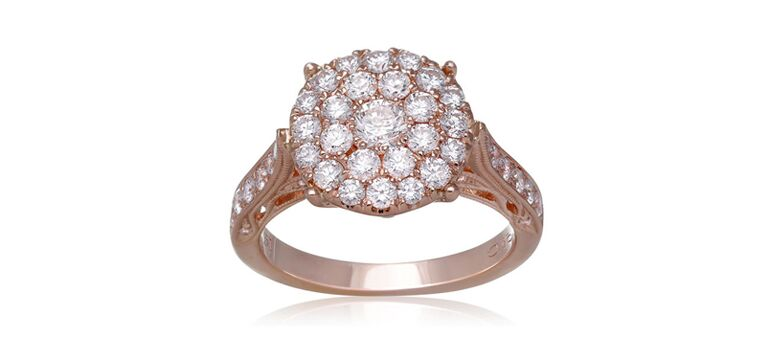 Rose gold ring with diamond clusters by Roman and Jules
