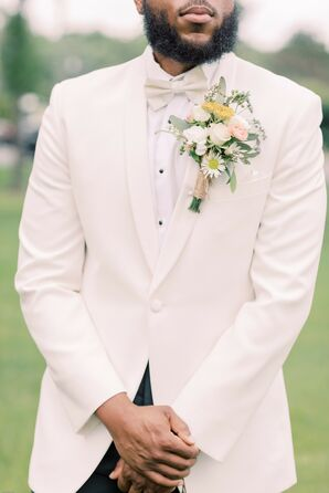 Large Boutonniere Paired with White Tux Jacket
