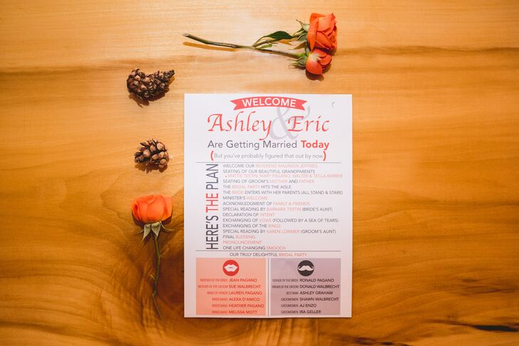 Ashley and Eric's program, menu and invitation suite were inspired by Perona Farms in Andover, New Jersey. They drew on the rustic venue with images of mason jars, earth-tone-inspired colors and other funky images for a playful twist.