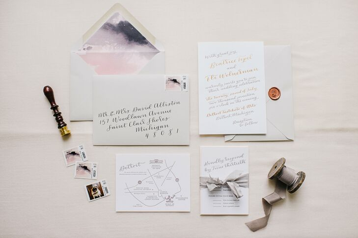 Neutral Invitation Suite with Calligraphy and Watercolor