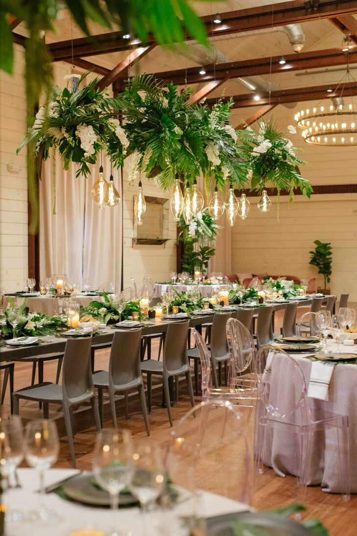 Tropical Reception Décor at Pippin Hill in Charlottesville, Virginia