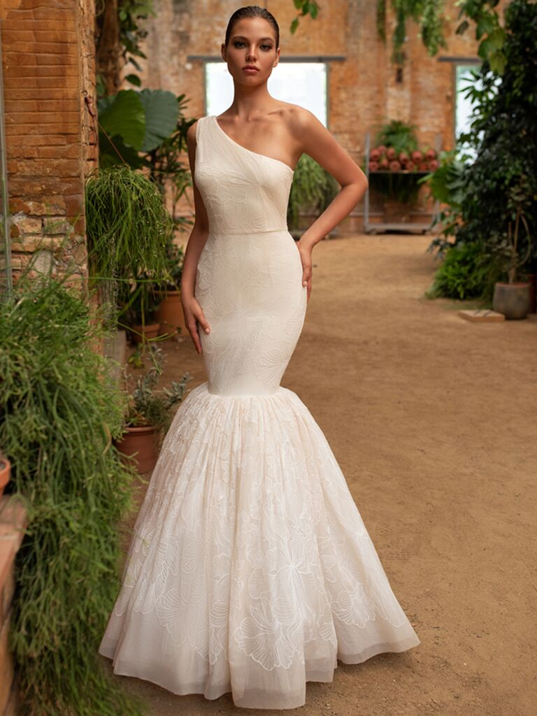 Zac Posen for White One mermaid dress with one shoulder