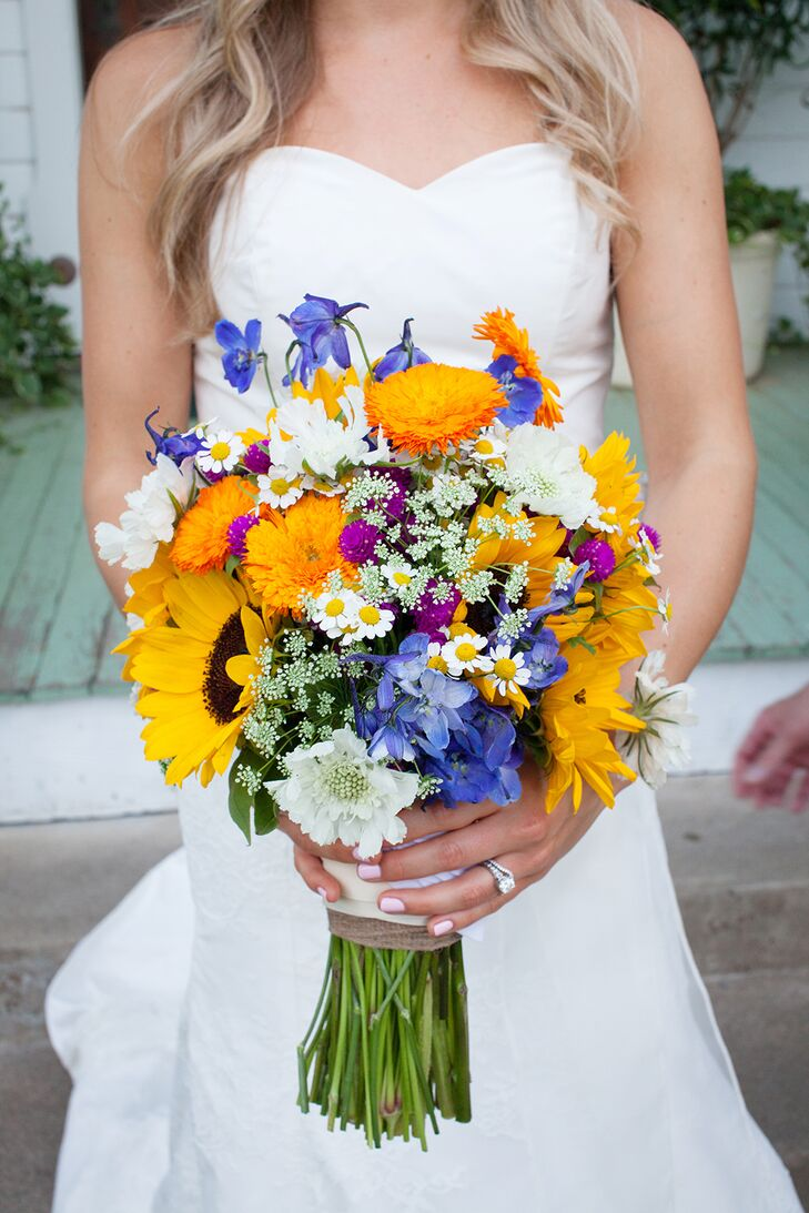 """The flowers were inspired by Texas wildflowers with the focus on the sunflower. """"The cheeriness of the sunflower makes me happy and energized, and reminds me of my Austin home,"""" says Carly."""