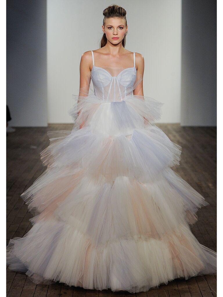 Pastel Tiered Skirt Ball Gown Wedding Dress
