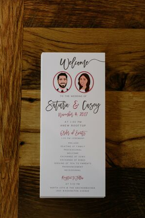 Modern Wedding Programs with Custom Illustration of Couple