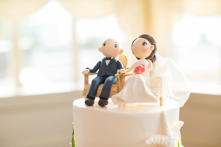 Custom Made Cake Toppers of Couple in Adirondack Chairs