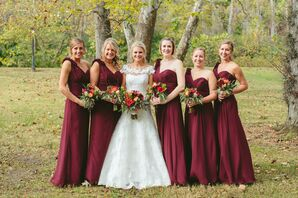 Floor Length Burgundy Bridesmaid Dresses