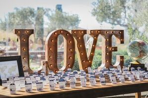 Love Marquee Sign on Escort Card Table