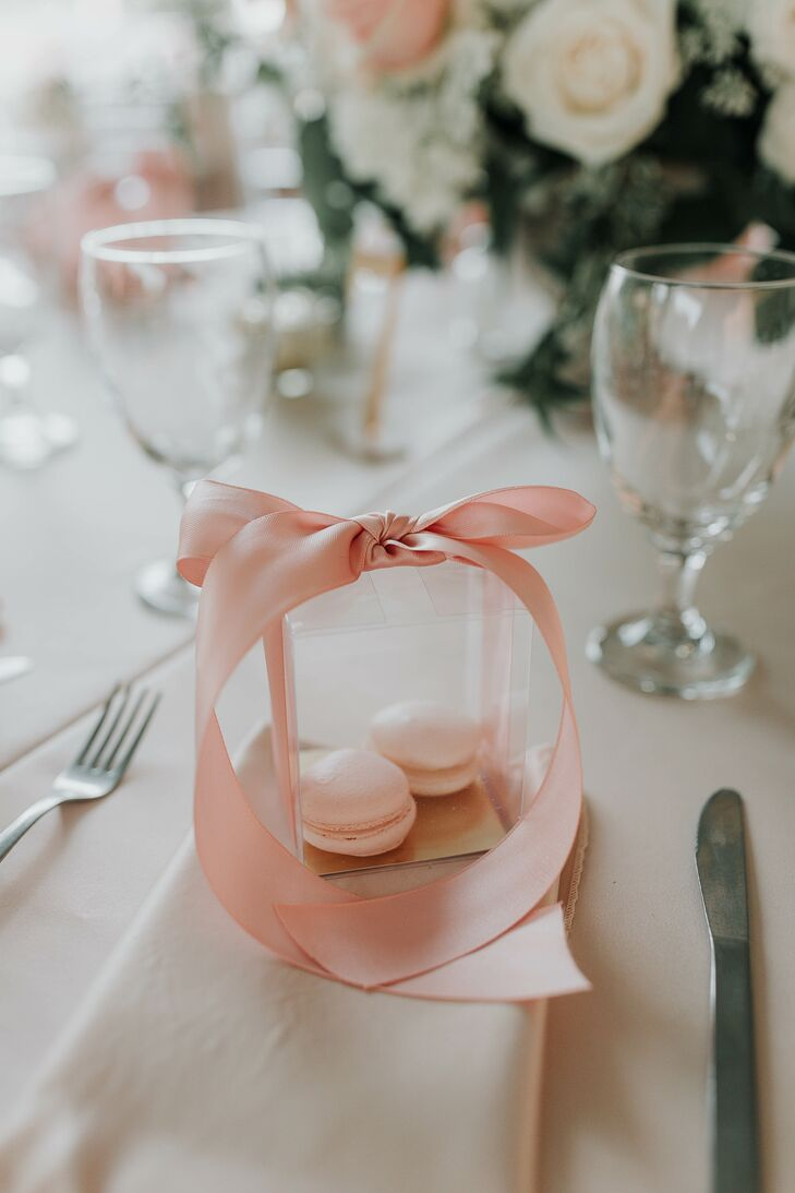 Macaron Favor Boxes Tied With Pink Ribbon