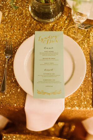 Mint Green Menus With Gold Sequined Linens