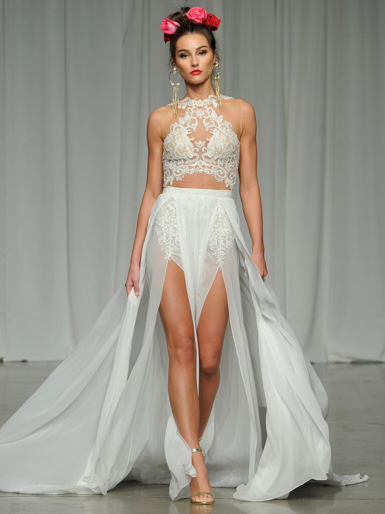 Julie Vino Spring 2019 two-piece wedding dress with a high-slitted skirt and an illusion lace bodice