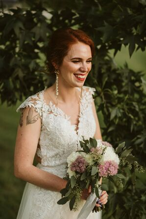 Modern Bride with Vintage Dress, Bouquet and Statement Earrings