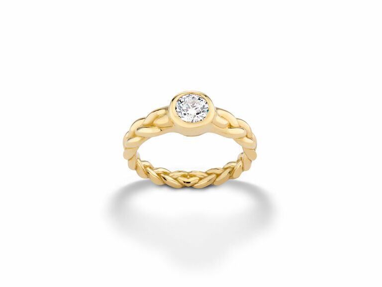 yellow gold diamond engagement ring with braided band