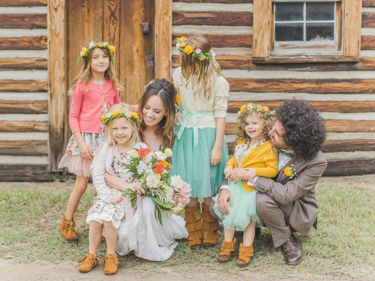 The couple enlisted the daughters of their friends as flower girls