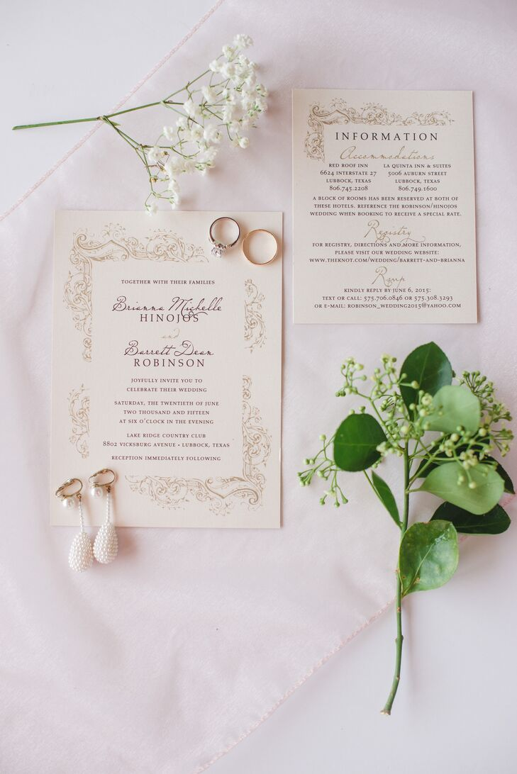 Drawing on the couple's elegant, romantic inspiration, Hodgepodge Designs in Lubbock, Texas created a formal invitation suite with undeniable old world charm for their mid-summer affair. Decorative flourishes, a palette of soft neutral hues and classic script lent the stationery a formal, yet customized feel.