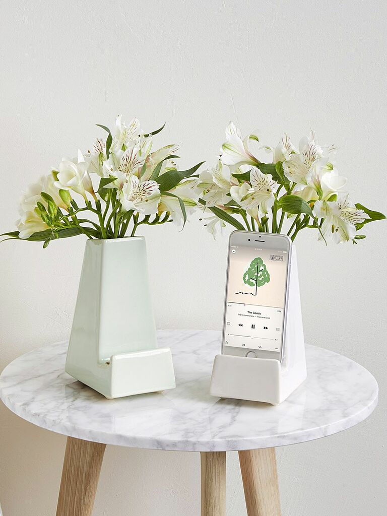 vase with holder for smart phone