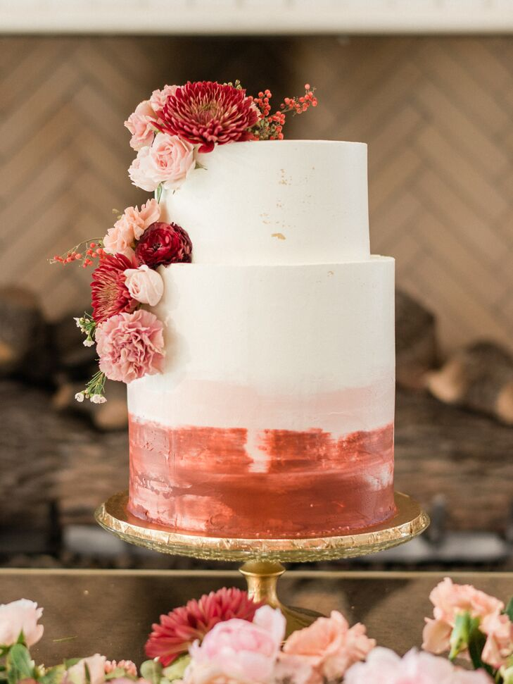 Modern White and Pink Wedding Cake with Flowers