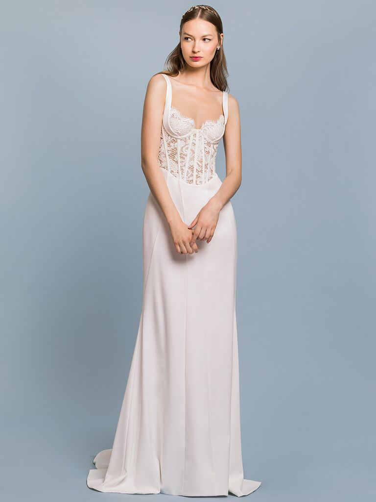 EDEM Demi Couture sheath dress with lace bustier bodice