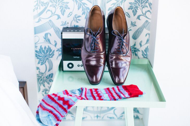 Brightly Patterned Socks Paired with Classic Dress Shoes