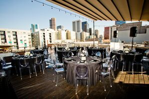 Black-and-White Roof Deck Wedding Reception